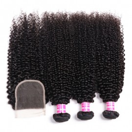Julia 3 Bundles Kinky Curly Human Hair Weaves With 4x4 Lace Closure