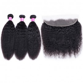 Julia 100% Real Human Hair Kinky Straight Bundles 3 Pieces With Lace Frontal