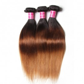 Julia Three Tone Brazilian Ombre Straight Virgin Hair Weave 4 Bundles