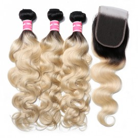 Julia 3 Bundles 1B/613 Color Ombre Body Wave Hair With 4x4 Closure 100% Human Hair Ombre Bundles