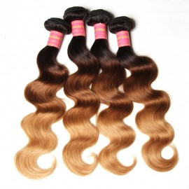 Julia Ombre Human Hair Bundles 4pcs With Closure Ombre Body Wave Virgin Hair