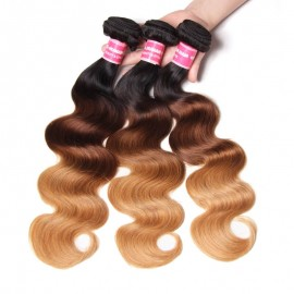 Julia Human Ombre Body Wave Brazilian Hair 3 Bundles Weave Three Tone T1B427/T1B613
