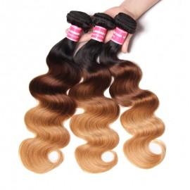 Julia Human Ombre Body Wave Brazilian Hair 3 Bundles Weave Three Tone T1B427/T1B613