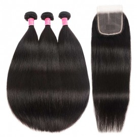 Julia Straight Human Hair 3 Bundles With 4x4 Transparent Lace Closure