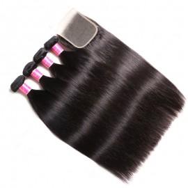 Julia 4Pcs Straight Hair Bundles With 4x4 Transparent Lace Closure Human Hair