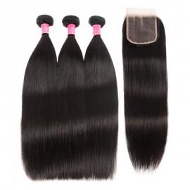 Julia 3pcs Virgin Straight Malaysian Hair Weave Human Bundles With Lace Closure
