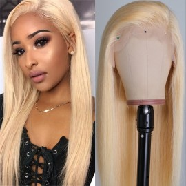 Julia 360 Lace Frontal Blonde Straight Human Hair Wigs Pre Plucked 10A Virgin Human Hair Wig With Baby Hair 613 Color