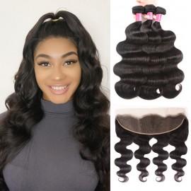 Julia 3 Bundles Virgin Body Wave Hair Bundles With Lace Frontal Hair Closure