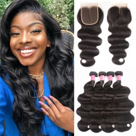 Julia 4 Bundles Brazilian Virgin Hair Body Wave Hair Bundles With Lace Closure