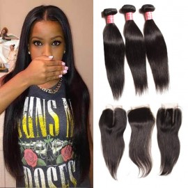 Julia Virgin 3 Bundles Of Peruvian Hair Straight Human Hair Weft With Closure