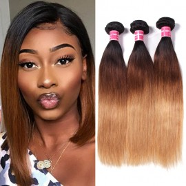 Julia 3 Bundle Deals Good Quality Brazilian Ombre Straight Human Hair Weave