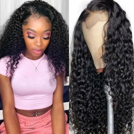 Julia Transparent Lace Front Human Hair Wigs 100% Unprocessed Curly Virgin Human Hair Wig Pre Plucked For Women