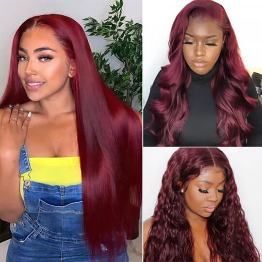 99J burgundy straight hair wig