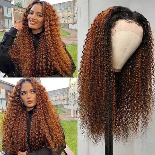 balayage highlights curly wig