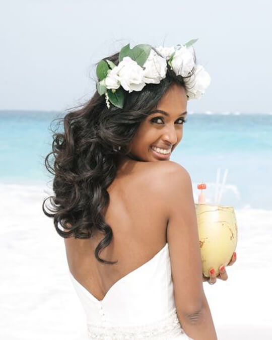 body wave hair with flower