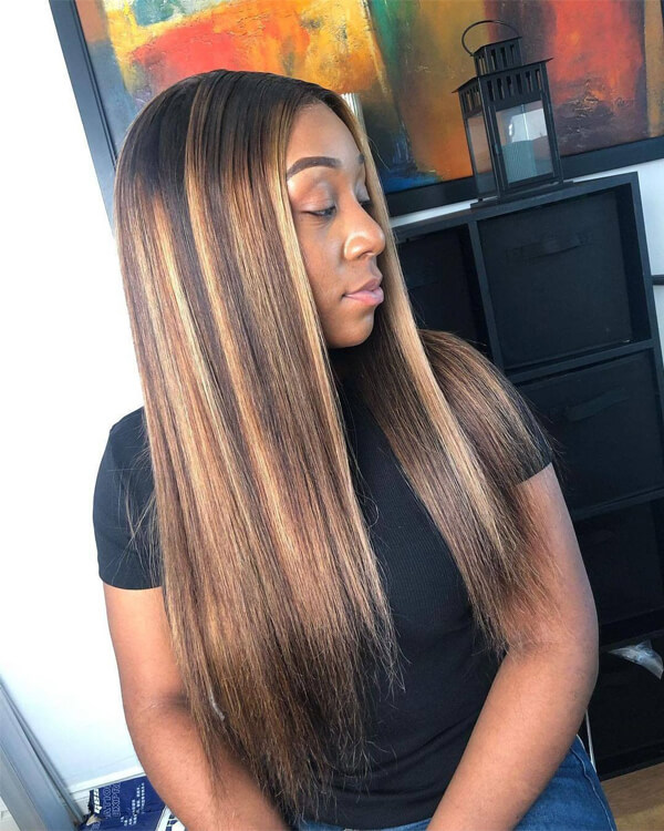 ombre color highlight straight wig