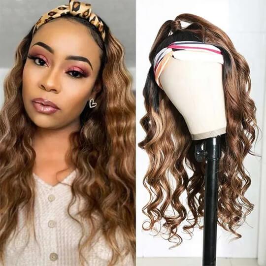 honey blonde headband wigs