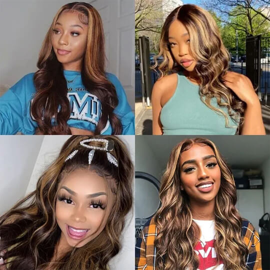 TL412 body wave lace front wig