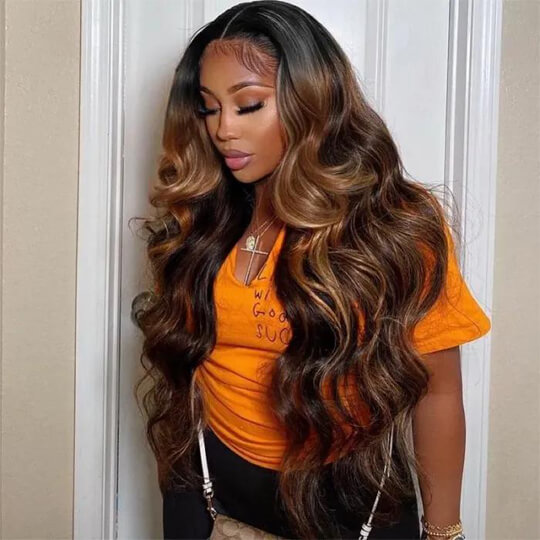 brown highlight body wave wig