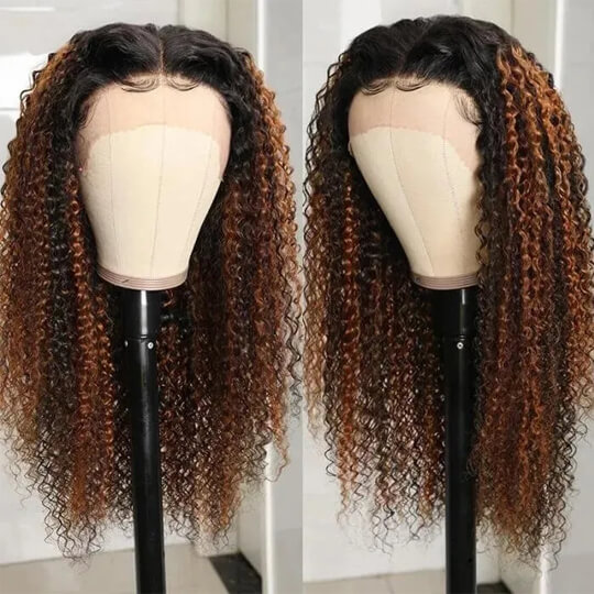 dark brown curly lace front wig