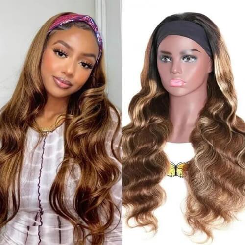 honey blonde headband wig