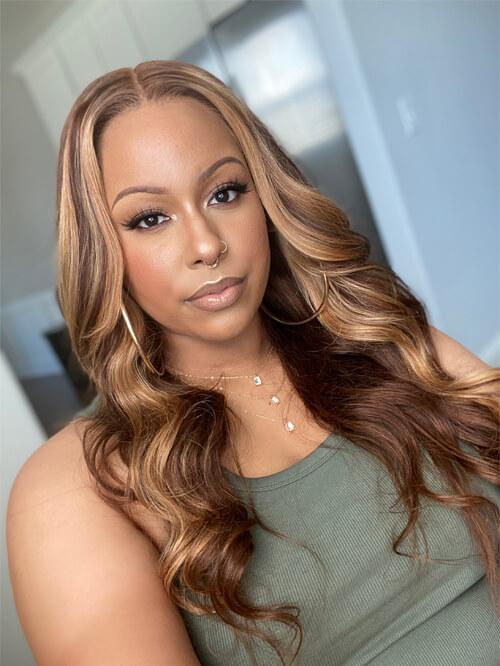 honey blonde highlight body wave wig