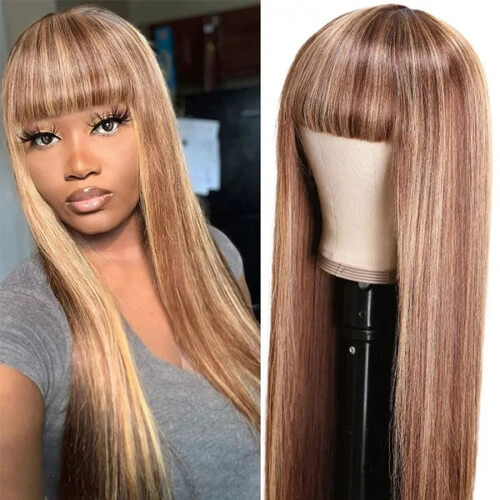 long highlight straight wigs with bangs