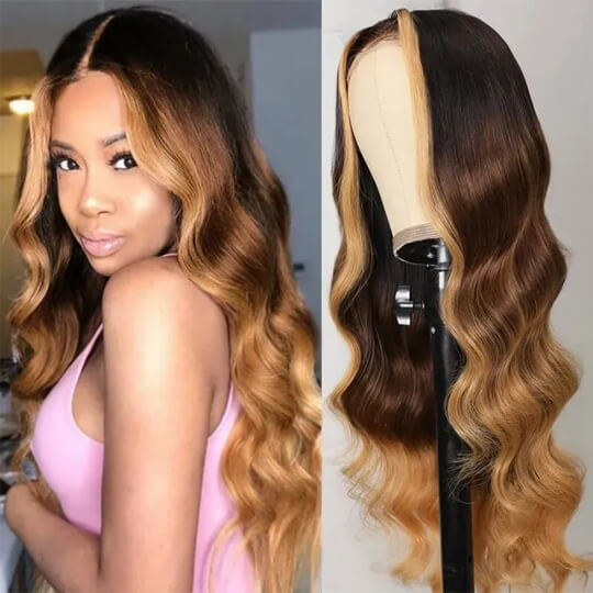 loose wave highlight t part wig