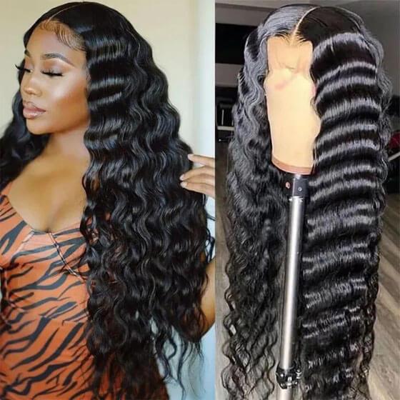 natural black deep wave wig