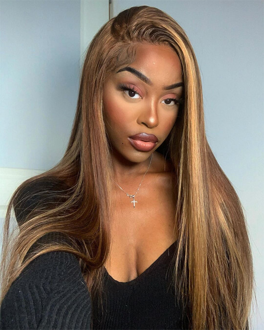 ombre color straight lace wig