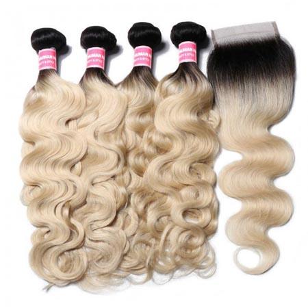 1B/613 blonde body wave hair bundles with closure