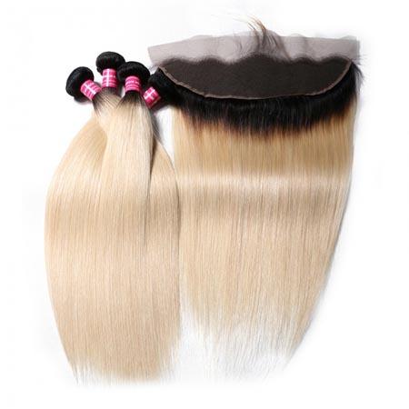 1B/613 blonde straight hair bundles with closure