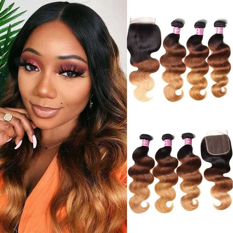 ombre body wave hair bundles with closure