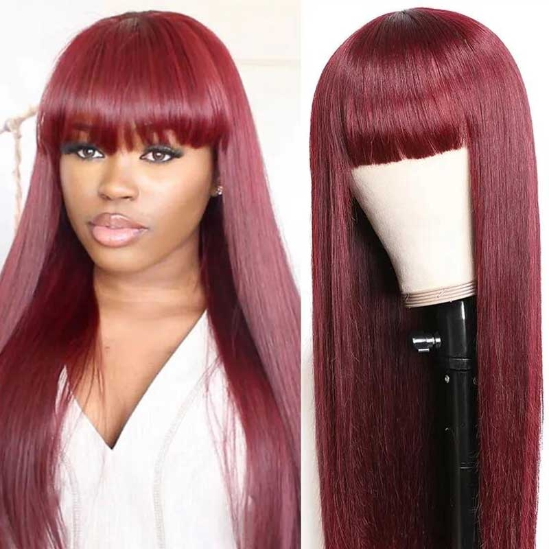 burgundy lace wig with bang