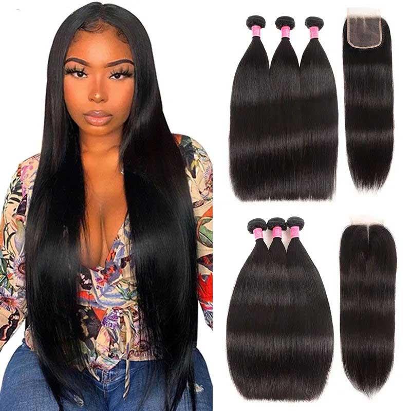 straight wave human hair bundles with closure