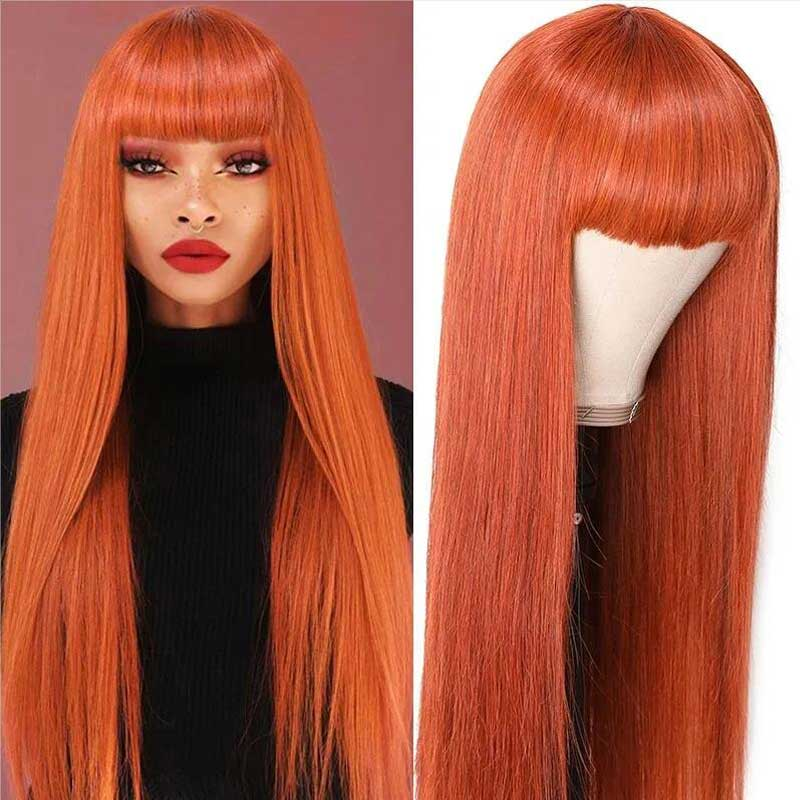 orange wigs with bangs