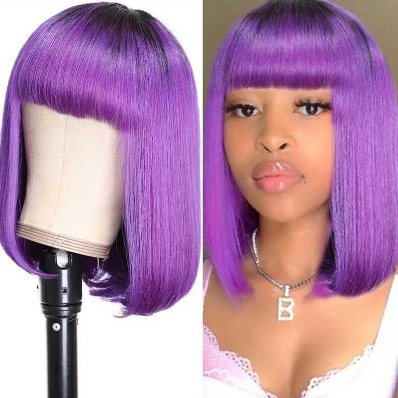purple bob lace wig with bang