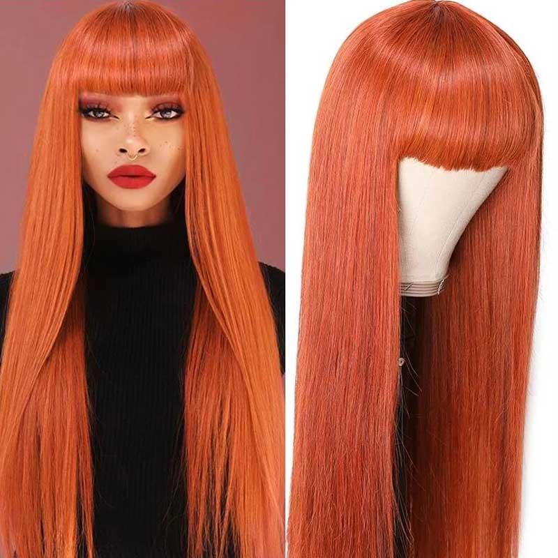 ginger orange lace wig with bang