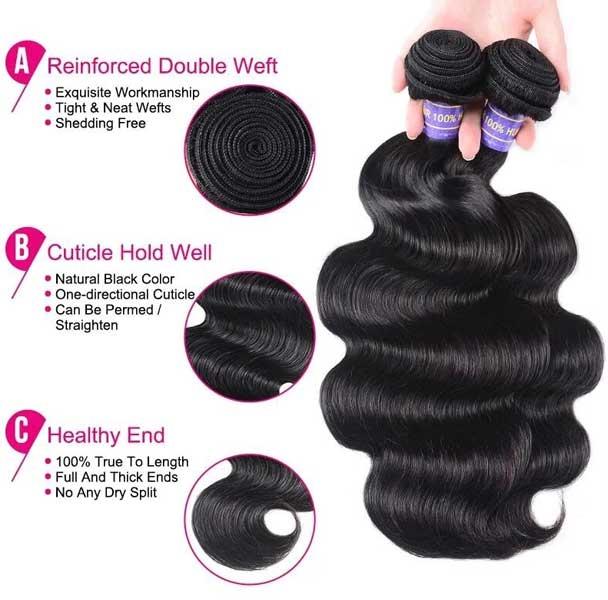 body wave hair bundles 7a grade hair