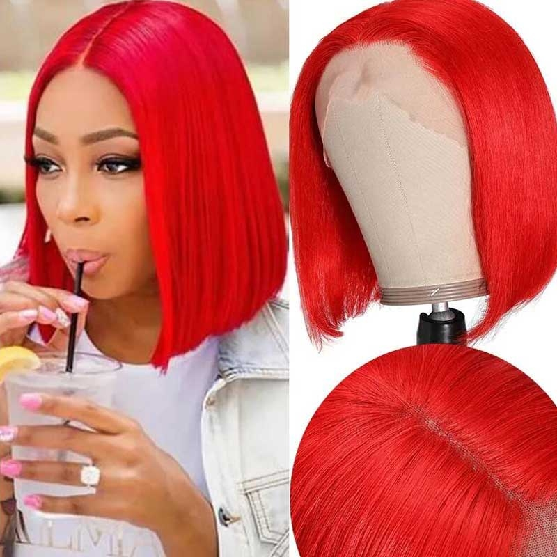 red bob lace front wigs