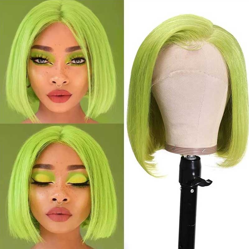 green bob lace front wigs