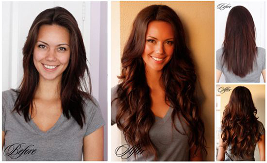 blend clip-in hair extensions with hair before and after