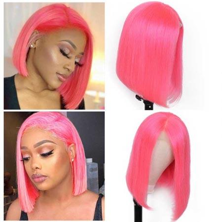 short bob pure pink color wig