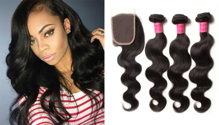 virgin body wave hair 3 bundles with clsoure