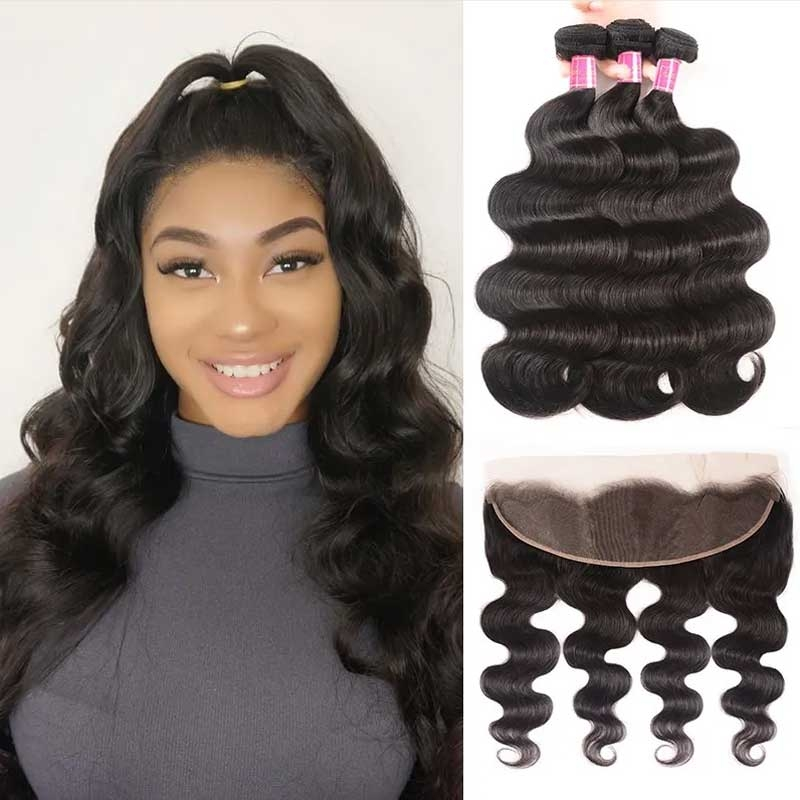 body wave lace frontal with hair bundles