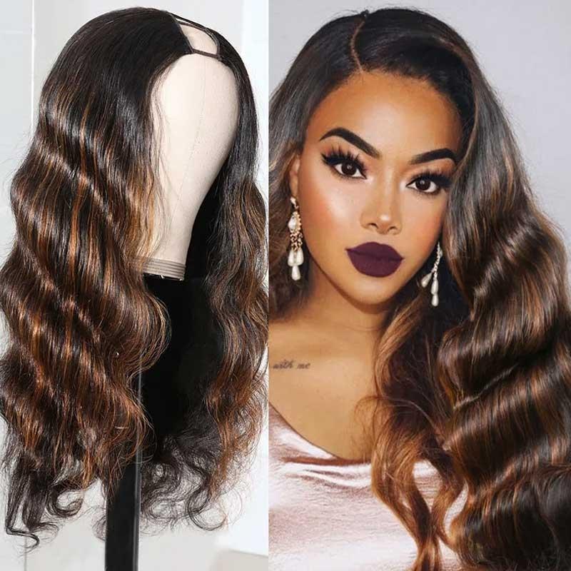 body wave U part wig