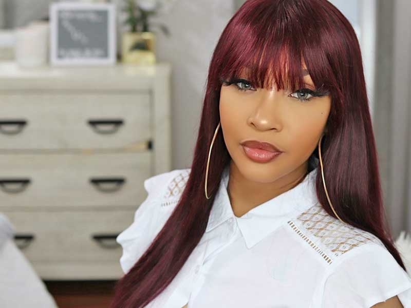 burgundy straight wigs with bangs