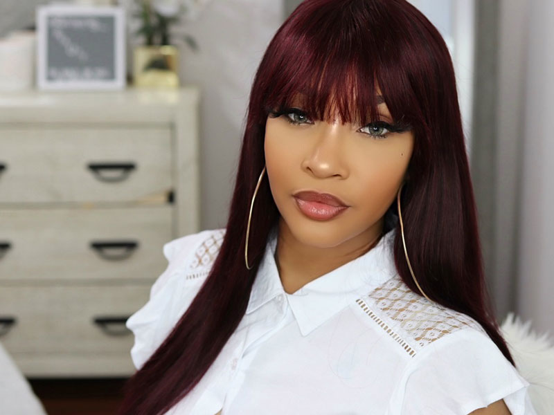 burgundy wigs with bangs