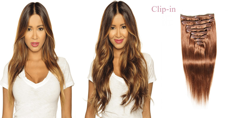 wear clip-in hair extensions before and after