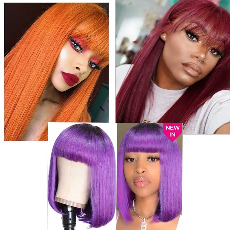 colored wigs with bangs